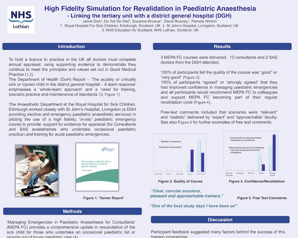 High Fidelity Simulation for Revalidation in Paediatric Anaesthesia